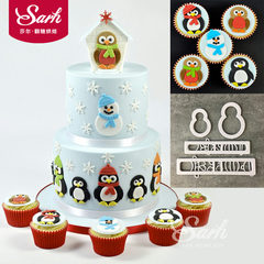 4pcs Penguin Christmas Snowman flip sugar cake printing cut mold Cookie Mold baking tool
