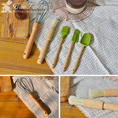 BAOZAKKA natural log beech Kitchen Baking tools silicone scraper whisk brush (gray big scraper)