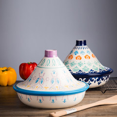 Huafu home export tower, Ji pot, ceramic casserole, rice pot, oven, steamer, health care, household handmade underglaze color Deep sea blue