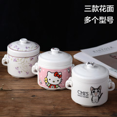 Bone stew water cartoon ceramic bird's nest stew White Double Cover Baby soup spoon feeding Zhongdai cover Stewed cheese cat 620ML plus four pieces