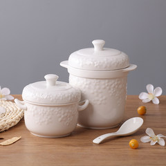 Stew ceramic hose cover liner exported to Japan by the bird's nest soup soup pot double cover pure high-temperature Shunxiang White relief (Tuba) spoon
