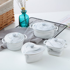 Western style marble ceramic pudding bowl with cover ears soufflee baking baking bowl baked rice bowl soup Zhongdun cup Marbled stew cup [heart shape]