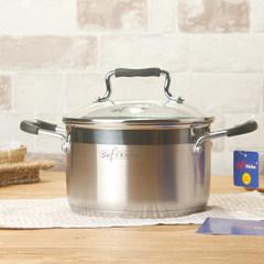 304 18/20/22cm thick stainless steel pot soup pot ears milk pot electromagnetic oven non stick pot general complex 18CM (for 1--2 meals)