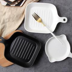 华清陶瓷新品 家用烘焙工具微波炉不粘烤盘蛋糕西餐披萨方盘圆盘 哑光白色烤盘(方款)
