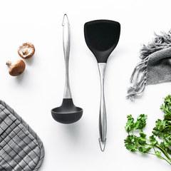 肆月 干练 不粘锅用硅胶锅铲不锈钢手柄炒菜铲子汤勺家用厨房烹饪 汤勺