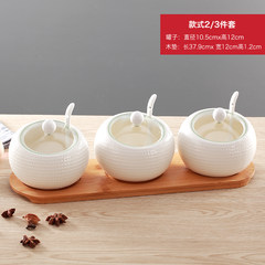 The sugar and ceramic creative wood seasoning box kitchen pepper pot MSG seasoning cans The set of two circular glass cover