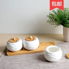 At the end of the bamboo ceramic seasoning pot seasoning box set with the household kitchen shelves cruet seasoning pot seasoning box Wavy stripes