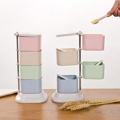 The salt box condiment box family combination is provided with top and bottom wheat straw seasoning kitchen utensils seasoning jar 12.7*12*27.2cm