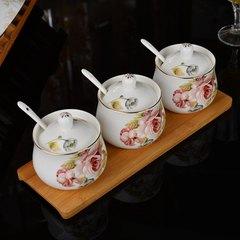 European ceramics seasoning cans set creative seasoning pot seasoning bottle salt seasoning bottle three piece with bamboo white