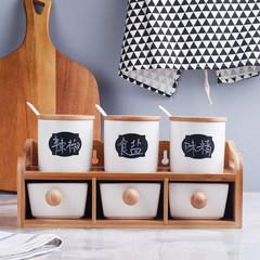 The kitchen ceramic seasoning box set of pepper salt storage and seasoning pot drawer six piece suit 61 sets of 370ML 500ML high oil tank models