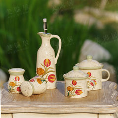 Special Offer! Rose Roman European style hand painted environmental protection, underglaze color ceramic flavoring jar, tulip seasoning pot set A pair of salt and pepper cans