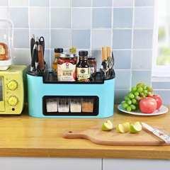 Creative kitchen shelf seasoning box set condiment bottles plastic combination knife chopsticks spoon storage rack gules