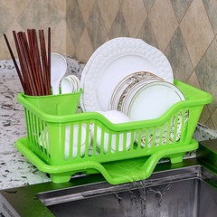 Kitchen bowl dripper put dishes containing cassette cover household sink shelf large plastic basket cupboard White side outlet