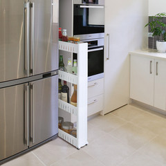 Gap shelf, kitchen, bathroom, bathroom, refrigerator, storage rack, movable seam sewing frame, floor narrow Three layers of green