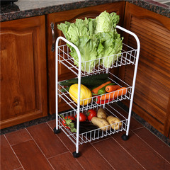 Kitchen storage rack kitchen shelf shelf storage basket of fruits and vegetables landing multilayer belt wheel cart White three layer long 35 width 26 high 68cm