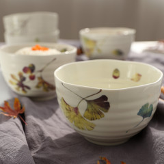 Qiushi series ceramic bowl Japanese bowl and ceramic tableware bowl Xiaotangshan Steamed Rice wind bowl bowl Home Furnishing Japan Ginkgo leaf