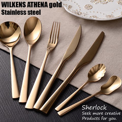 Clearance knife and spoon! WILKENS new era high grade 304 stainless steel steak main tableware New era [golden] main meal spoon