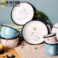 Finland Muurla series enamel enamel bowl Moomin household tableware bowl dish creative European nostalgia Pink glory enamel bowl