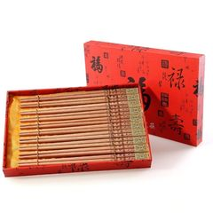 Chinese wind natural logs, health care yew chopsticks lettering, high-end gifts, household tableware gift box 10 double suit 10 boxed with two gifts