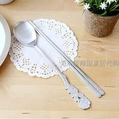 Korea imports 18-10 stainless steel spoon, chopsticks set tableware, high-grade three-dimensional rose handle genuine goods Rose spoon + chopsticks set