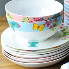 Bone china tableware bowl set Korean dishes creative bonechina items Korean bone fish soup plate The garden of Eden butterfly flower pot products