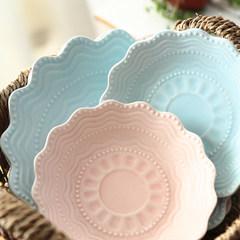 Creative breakfast tray Western-style food dish plate creative deep dish ceramic tableware cake fruit color plate dribbling 8 inch Matt pink Platter - 20 centimeters in diameter.