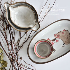 Jiangnan life blemish hand-painted ceramic cat plates soufflee bowl bowl bowl bowl of ice cream Special shaped small bowl with two ears