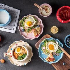 碗碟套装家用日式餐具碗盘套装盘子创意碗筷波点套装两人食套装 5件 蓝色波点五件套