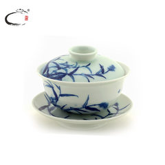Beijing De collection of blue and white reed birds large Sancai hand-painted ceramic bowl of Jingdezhen Kung Fu tea cup bowl bowl