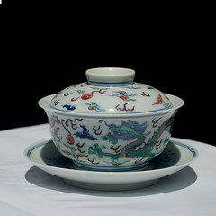 Genuine hand full color hand-painted wear flowers Jingdezhen antique porcelain bowl tea tureen Shuanglong