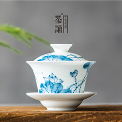Authentic vintage Chinese porcelain tureen large hand-painted ceramic cup Japanese tea tea is the lotus bowl