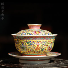 Hand-painted pastel lotus flower handmade porcelain tureen Jingdezhen antique Sancai bowl tea bowl