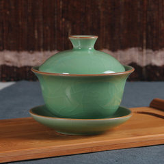 Special offer shipping Longquan celadon tea bowl bowl ceramic tea cup three small white hand 130ml Blue 400ml