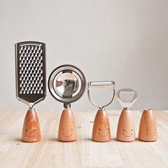 Social | lovely smiling face CuO wood kitchen gadget peeler melon planing silk bottle divided egg toothpick pot One Egg separator