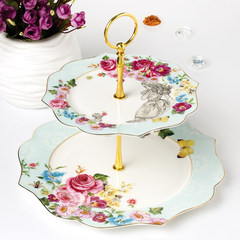 China English afternoon tea tea snack dish European double fruit plate disc tray cake tray snack snacks Secret double deck dessert plate