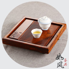 The whole wooden tray single square size tea Kung Fu Tea drainage zingana wood tea table [S] Dutch rhyme zingana wood tray