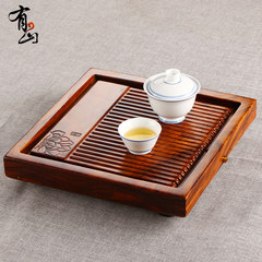 The whole wood tray single square size tea Kung Fu Tea drainage zingana wood mahogany tea table [S] Dutch rhyme zingana wood tray