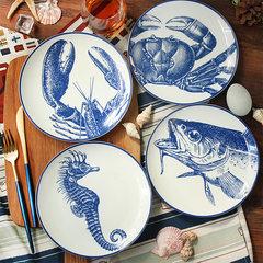 Mediterranean Blue seafood, ceramic disk, English blue and white steak dish, creative restaurant decoration package mail Fish head plate