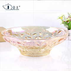 Shipping European color glass compote fruit plate crystal glass compote large living room coffee table dry fruit fruit bucket Blue leaves fruit bucket