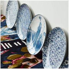 Blue and white porcelain tableware Jiangnan roo retro style flat Western-style food dish plate disc tray number. B 1 Suihua