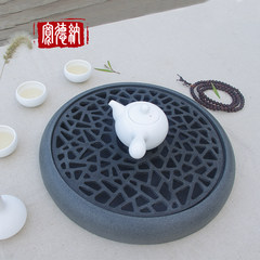 Dana Wujin made life wide original stone tea tray tea black stone stone stone small tea table Kung Fu Tea Yunjushan porch window diameter 34cm carved dragon