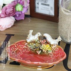 American country ceramics, birds, handmade soap box, soap box, key dish, seasoning dish, jewelry dish