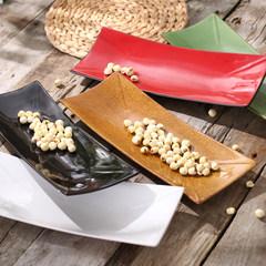个性餐厅酒店创意日式餐具点心盘长方盘黑色红色长方盘包邮 白色长方盘