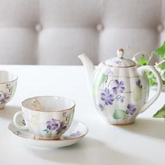 MY家 - 俄罗斯皇家瓷器Lomonosov 紫色森林 红茶杯 一杯一碟 茶壶 茶壶