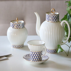 MY家 - 俄罗斯皇家瓷器Lomonosov 瓷白波纹钴蓝网纹 茶壶 茶杯碟 茶壶