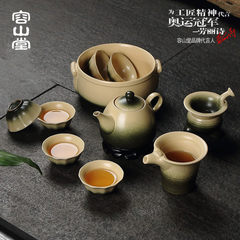 Let the friends of ancient celadon pottery tea Church Hill Ming Kung Fu tea set large high-grade gift teapot teacup bowl 10 Bamboo green — dream sea listening to spring