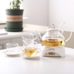 English style simple fruit tea, afternoon tea tea set, large capacity ceramic glass flower tea set, boiled flower tea set, Teapot Set Single furnace seat + glass pot