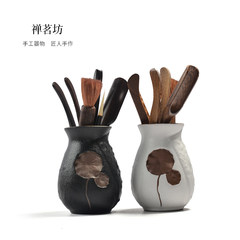 Coarse pottery relief six gentleman ceramic tea accessories Kung Fu tea tea clips ebony wings of wood tea set Relief Six Gentlemen white wing chicken wood