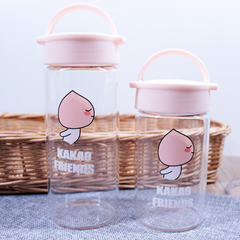 Portable glass in hospital cup porridge, soy milk juice cup, high temperature cartoon cute children, pregnant women cup with cloth sleeve Pink