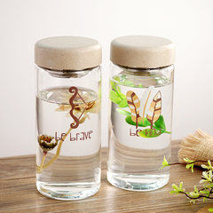 South Korean fresh glass bottle with simple personality of female students portable mini cup of tea filter True